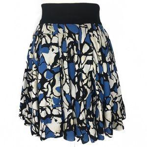 Robert Rodriguez Blue & Black Print Silk Skirt